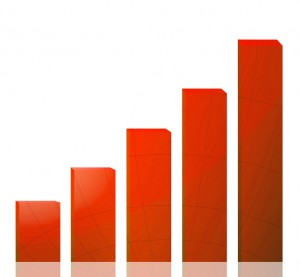 Business graph growth red arrow